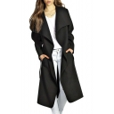 Lapel Collar Long Sleeve Tunic Trench Coat with Belt