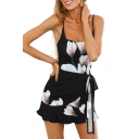 Floral Printed Spaghetti Straps Sleeveless Tie Waist Mini Cami Dress