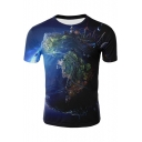 Fancy Earth Surface Printed Round Neck Short Sleeve T-Shirt