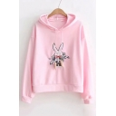 Letter Rabbit Embroidered Long Sleeve Carrot Pattern Drawstring Hoodie