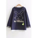 Letter Rabbit Printed Lace Patchwork Hem Round Neck Long Sleeve Loose Sweatshirt