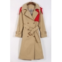 Contrast Panel Notched Lapel Collar Long Sleeve Double Breasted Trench Coat