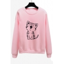 Lovely Cat Printed Long Sleeve Round Neck Leisure Pullover Sweatshirt