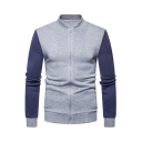 Slim Stand Up Collar Color Block Zip Up Long Sleeve Baseball Jacket