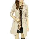 Single Breasted Notched Lapel Collar Long Sleeve Plain Tunic Coat