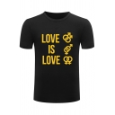 LOVE Letter Printed Round Neck Short Sleeve Graphic Tee