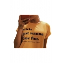 GIRLS JUST WANNA Letter Printed Round Neck Short Sleeve Tee