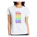 Colorful LOVE IS LOVE Letter Printed Round Neck Short Sleeve T-Shirt