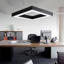 Modern Luminaire Lighting Acrylic Metal Black Finish Led Square Chandelier 60W/80W Light-adjustable 6000K Led Square Ring 23.62
