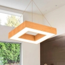 Wood Grain Square Led Pendant 15.75