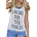 SWING Letter Graphic Printed Round Neck Sleeveless Summer Tank