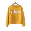 Cartoon Animal Printed Round Neck Long Sleeve Pullover Sweatshirt