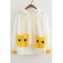 Color Block Cat Printed Pockets Patched Front Long Sleeve Hoodie