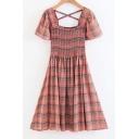 Square Neck Short Sleeve Plaid Printed Chic Midi A-Line Dress