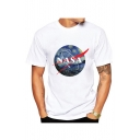 NASA Letter Painting Printed Round Neck Short Sleeve Tee