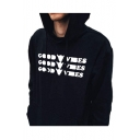 GOOD VIBES Letter Hand Printed Long Sleeve Leisure Hoodie