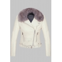 Faux Fur Collar Long Sleeve Zip Up Plain Crop PU Jacket