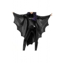 Bat Cosplay Plain Long Sleeve High Neck Skinny Jumpsuit
