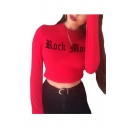 High Neck Long Sleeve Letter Printed Crop T-Shirt