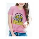 Letter Character Printed Round Neck Short Sleeve Leisure Graphic T-Shirt