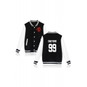Kpop Twice Korean Star Letter Graphic Printed Color Block Contrast Striped Trim Button Front Baseball Jacket