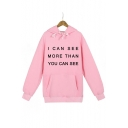 I CAN SEE Letter Printed Long Sleeve Hoodie