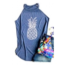 Pineapple Printed Halter Sleeveless Leisure Tank