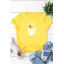 Cock Letter Printed Round Neck Short Sleeve Tee