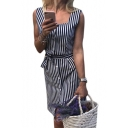 Square Neck Sleeveless Striped Printed Button Front Midi Pencil Dress