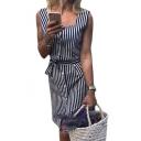Square Neck Sleeveless Striped Printed Button Front Midi Pencil Dress