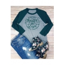 Color Block Raglan 3/4 Length Sleeve THANKFUL Letter Printed Round Neck Leisure Tee