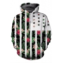 Contrast Striped Star Floral Printed Long Sleeve Unisex Hoodie