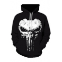 Cool Skull Printed Long Sleeve Casual Hoodie