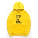 GIRLS CAN DO Letter Printed Long Sleeve Fashion Hoodie
