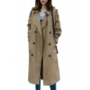 Notched Lapel Collar Double Breasted Plain Long Sleeve Tunic Trench Coat