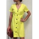 V Neck Short Sleeve Plain Button Front Elastic Waist Mini A-Line Dress