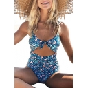 Hollow Out Knotted Front Spaghetti Straps Sleeveless Printed One Piece Swimwear