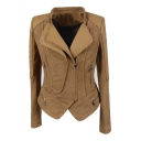Zipper Embellished PU Patchwork Long Sleeve Zip Up Chic Crop Jacket