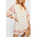 Floral Embroidered Tassel Embellished Drawstring V Neck 3/4 Length Sleeve Mini A-Line Dress