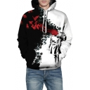 Black and White Color Block Fire Character Printed Long Sleeve Oversized Hoodie