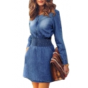 Round Neck Long Sleeve Elastic Waist Slim Leisure Mini Denim A-Line Dress