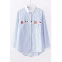 Contrast Trim Cartoon Cat Embroidered Striped Printed Long Sleeve Button Front Shirt