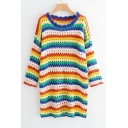 Round Neck Long Sleeve Rainbow Striped Hollow Out Midi A-Line Dress