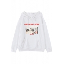 MERICAN DREAMS Letter Vintage Photo Printed Long Sleeve Hoodie