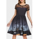 Round Neck Short Sleeve Lace Insert Halloween Series Printed Midi A-Line Dress