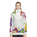 Colorful Splash Ink Printed Long Sleeve Sports Hoodie