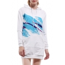 Splash Ink Printed Long Sleeve Tunic Slim Mini Hooded Dress