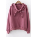 Letter Embroidered Knotted Front Long Sleeve Chic Hoodie