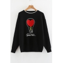 Bulb Heart Letter Pattern Round Neck Long Sleeve Sweater
