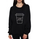 COFFEE Letter Cup Printed Round Neck Long Sleeve Leisure Sweatshirt